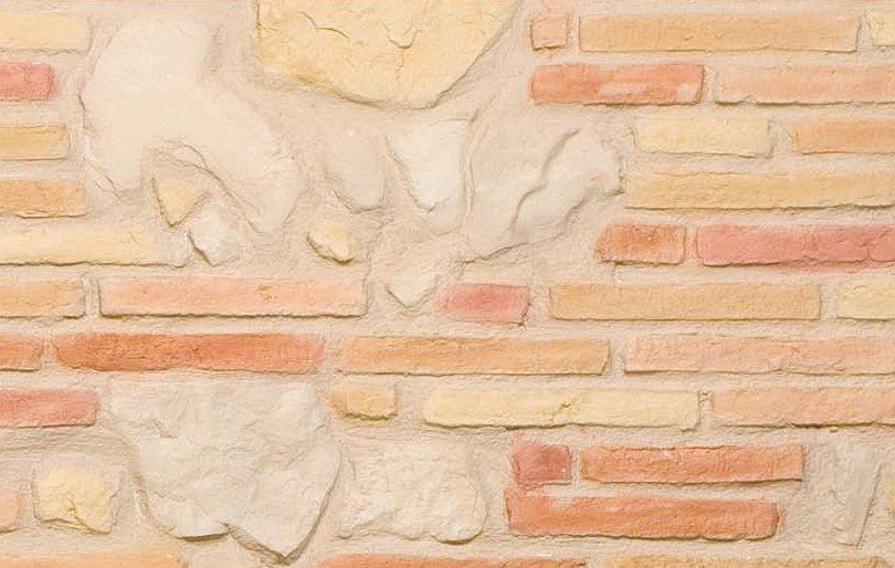 Brique multicolore et pierre plate for Brique interieur