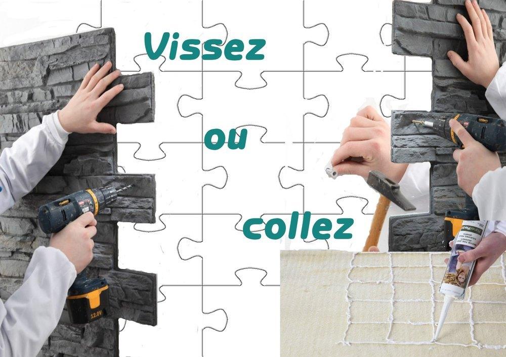 Panneaux puzzles rev tement mural d coratif aspect pierre et design - Panneau mural capitonne ...
